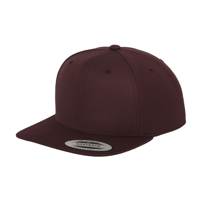 Maroon - Front - Yupoong Mens The Classic Premium Snapback Cap (Pack of 2)