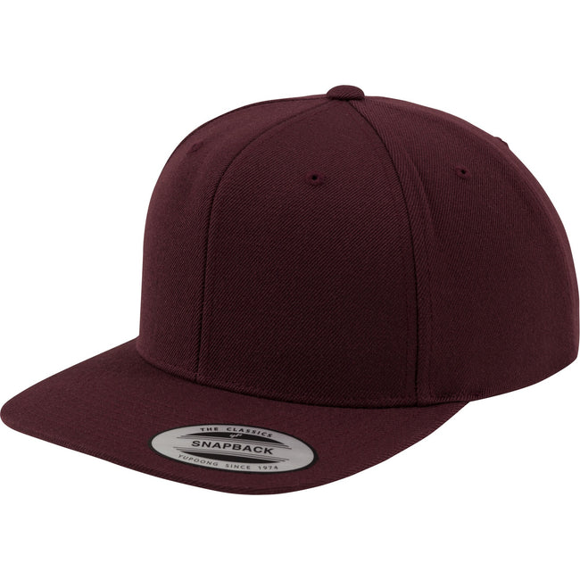 Maroon-Maroon - Front - Yupoong Mens The Classic Premium Snapback Cap (Pack of 2)