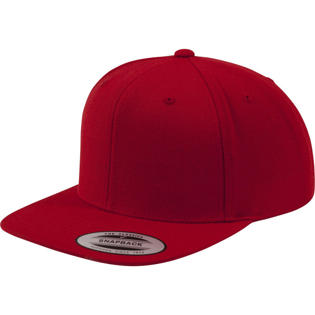 Red-Red - Front - Yupoong Mens The Classic Premium Snapback Cap (Pack of 2)