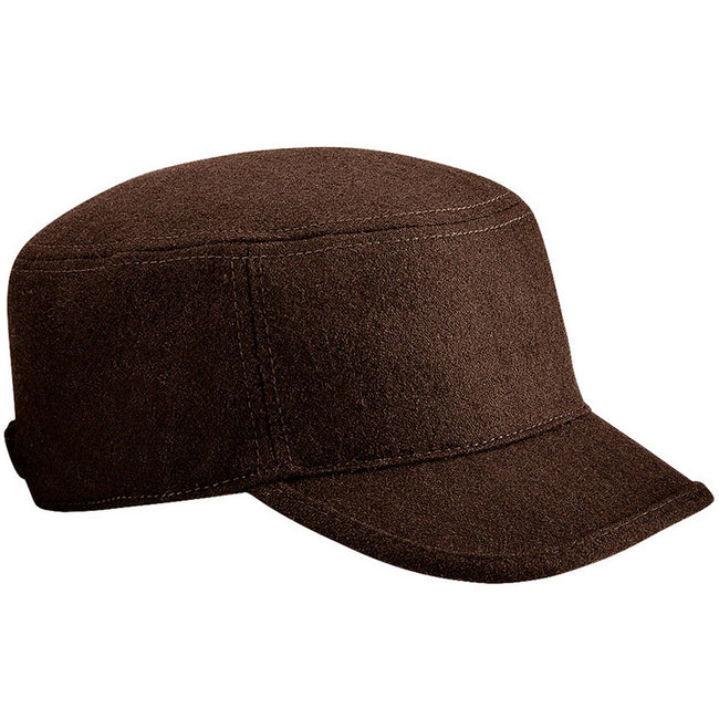 Chocolate - Front - Beechfield Unisex Melton Wool Blend Cadet-Army Cap (Pack of 2)