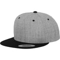 Heather- Black - Front - Yupoong Mens The Classic Premium Snapback 2-Tone Cap (Pack of 2)