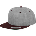 Heather- Maroon - Front - Yupoong Mens The Classic Premium Snapback 2-Tone Cap (Pack of 2)