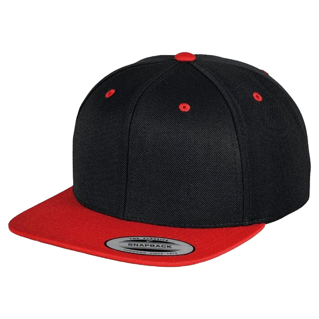 Black- Red - Front - Yupoong Mens The Classic Premium Snapback 2-Tone Cap (Pack of 2)
