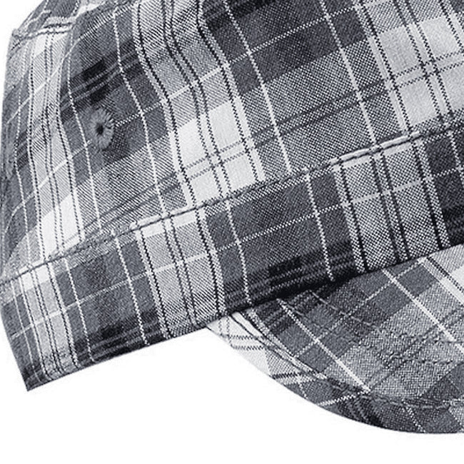 Grey Plaid - Back - Beechfield Unisex Plaid Cadet Army Cap (Pack of 2)