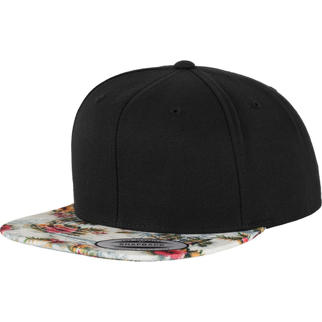 Black-Floral Mint - Front - Yupoong Mens Fashion Print Premium Snapback Cap (Pack of 2)