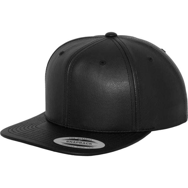 Black- Black - Front - Yupoong Flexfit Unisex Faux Leather Snapback Cap (Pack of 2)