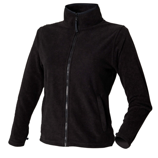 Black - Front - Henbury Womens-Ladies Microfleece Anti-Pill Jacket