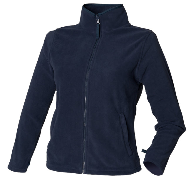 Navy - Front - Henbury Womens-Ladies Microfleece Anti-Pill Jacket