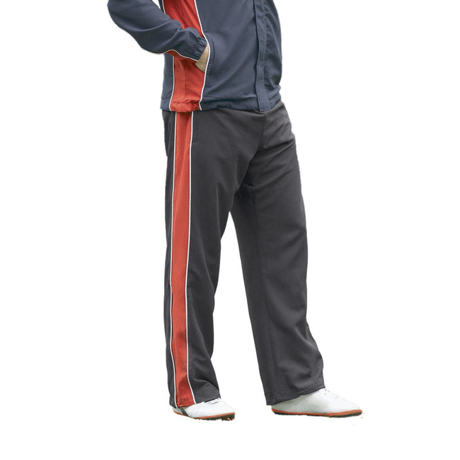 Black-Red-White - Front - Finden & Hales Kids Unisex Contrast Sports Track Pants - Tracksuit Bottoms (Pack of 2)