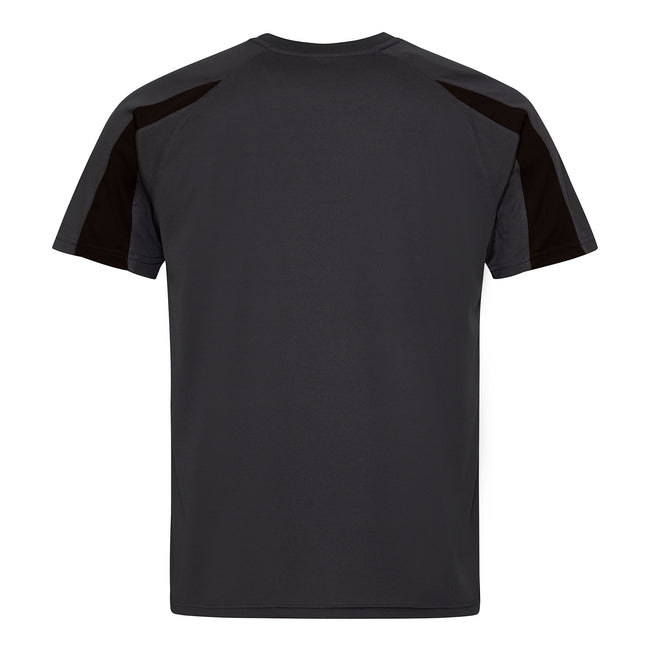Charcoal-Jet Black - Back - Just Cool Mens Contrast Cool Sports Plain T-Shirt