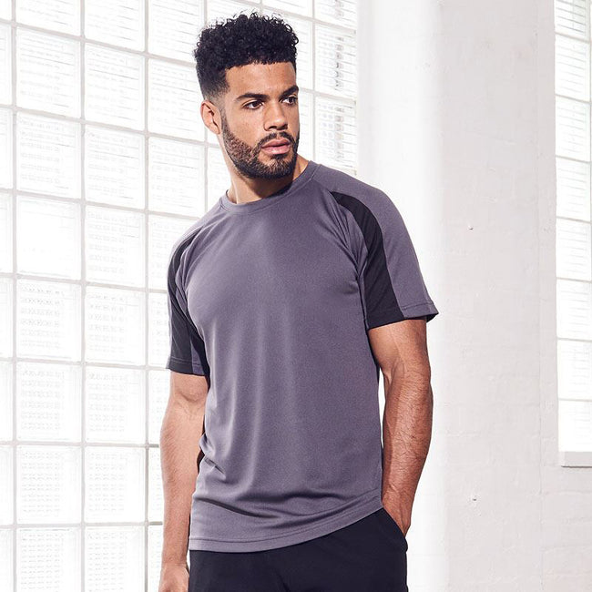 Charcoal-Jet Black - Side - Just Cool Mens Contrast Cool Sports Plain T-Shirt