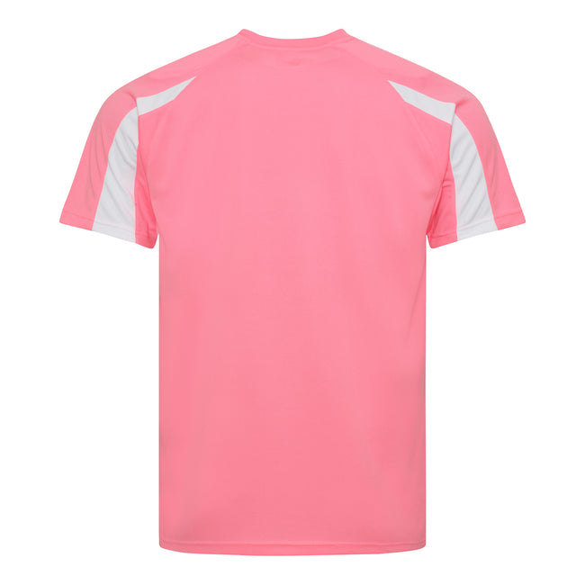 Electric Pink-Arctic White - Back - Just Cool Mens Contrast Cool Sports Plain T-Shirt
