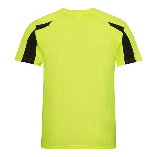 Electric Yellow-Jet Black - Back - Just Cool Mens Contrast Cool Sports Plain T-Shirt
