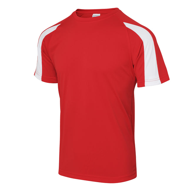 Arctic White-Fire Red - Side - Just Cool Mens Contrast Cool Sports Plain T-Shirt