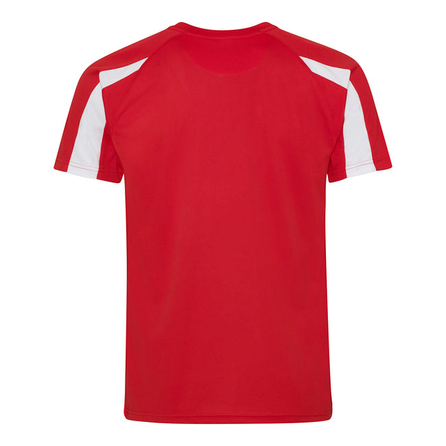 Fire Red-Arctic White - Back - Just Cool Mens Contrast Cool Sports Plain T-Shirt