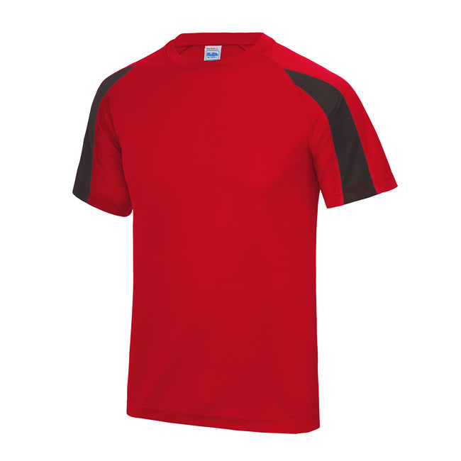 Fire Red-Jet Black - Front - Just Cool Mens Contrast Cool Sports Plain T-Shirt