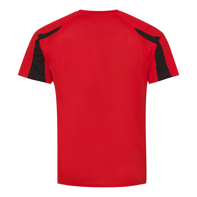 Fire Red-Jet Black - Back - Just Cool Mens Contrast Cool Sports Plain T-Shirt
