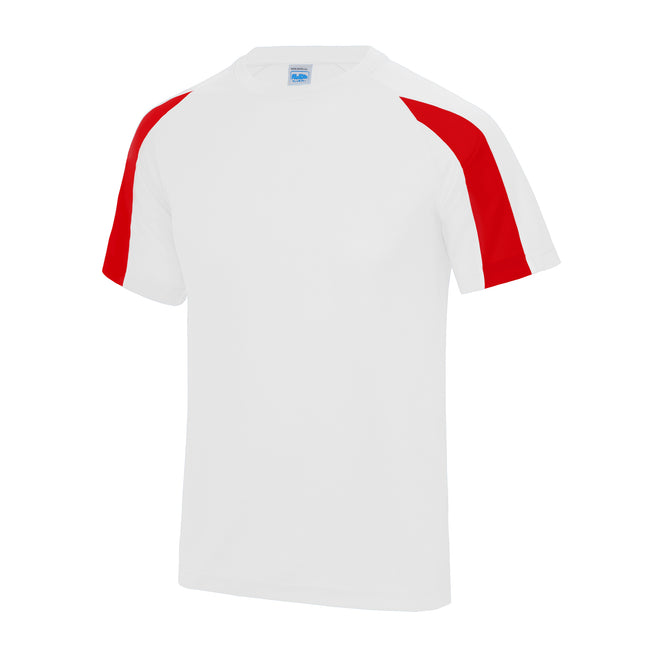 Arctic White-Fire Red - Front - Just Cool Mens Contrast Cool Sports Plain T-Shirt