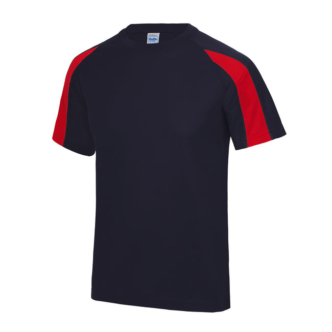 French Navy-Fire Red - Front - Just Cool Mens Contrast Cool Sports Plain T-Shirt