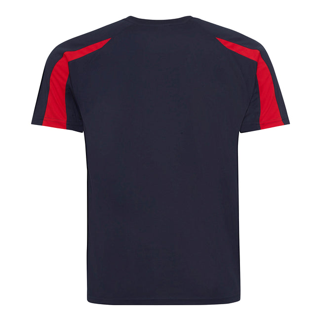 French Navy-Fire Red - Back - Just Cool Mens Contrast Cool Sports Plain T-Shirt