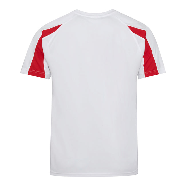 Arctic White-Fire Red - Back - Just Cool Mens Contrast Cool Sports Plain T-Shirt