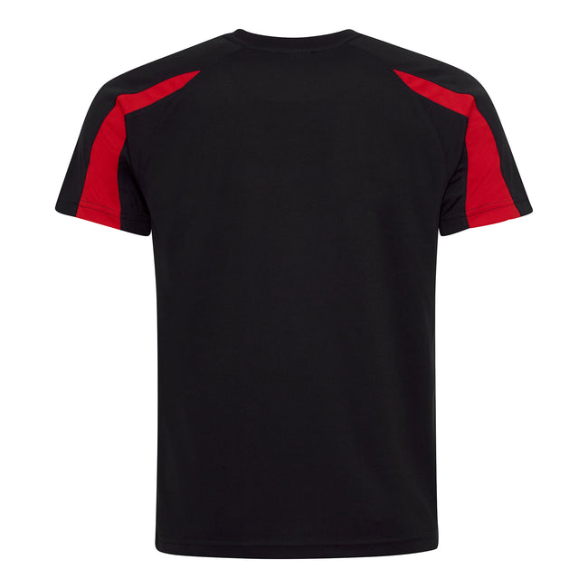 Jet Black-Fire Red - Back - Just Cool Mens Contrast Cool Sports Plain T-Shirt
