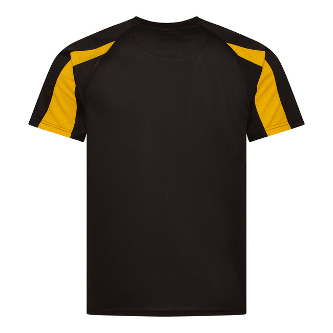 Jet Black- Gold - Back - Just Cool Mens Contrast Cool Sports Plain T-Shirt