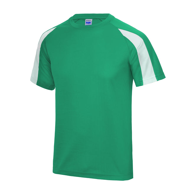 Kelly Green-Arctic White - Front - Just Cool Mens Contrast Cool Sports Plain T-Shirt
