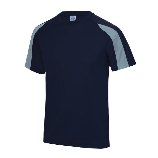 Oxford Navy- Sky Blue - Front - Just Cool Mens Contrast Cool Sports Plain T-Shirt