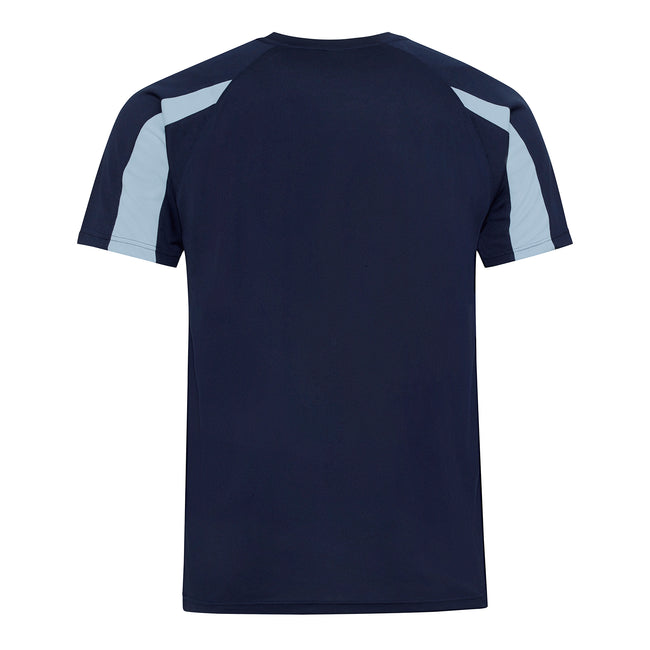 Oxford Navy- Sky Blue - Back - Just Cool Mens Contrast Cool Sports Plain T-Shirt
