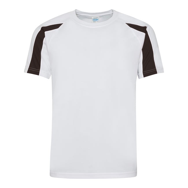 Arctic White-Jet Black - Front - Just Cool Mens Contrast Cool Sports Plain T-Shirt