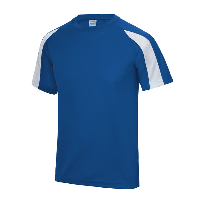 Royal Blue- Arctic White - Front - Just Cool Mens Contrast Cool Sports Plain T-Shirt