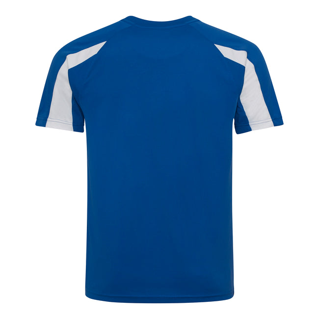 Royal Blue- Arctic White - Back - Just Cool Mens Contrast Cool Sports Plain T-Shirt