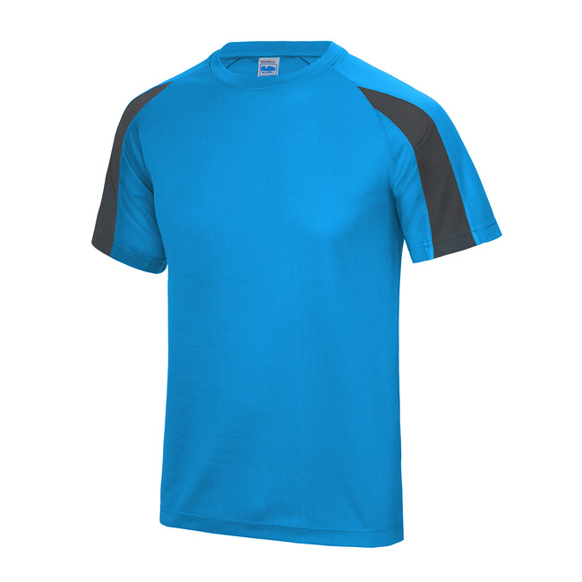 Sapphire Blue- Charcoal - Front - Just Cool Mens Contrast Cool Sports Plain T-Shirt