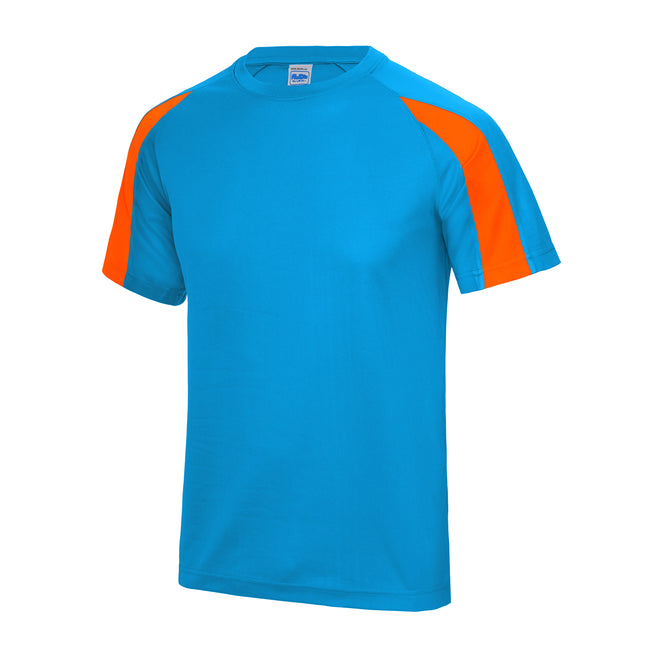 Sapphire Blue- Electric Orange - Front - Just Cool Mens Contrast Cool Sports Plain T-Shirt