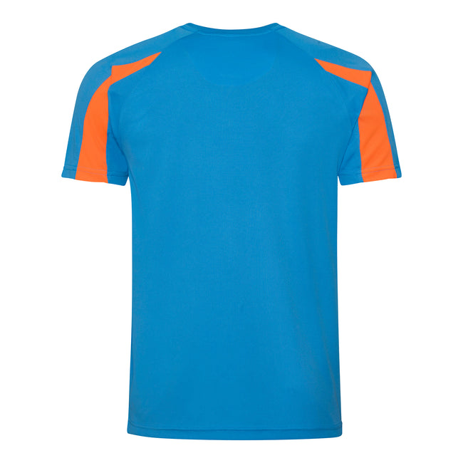 Sapphire Blue- Electric Orange - Back - Just Cool Mens Contrast Cool Sports Plain T-Shirt