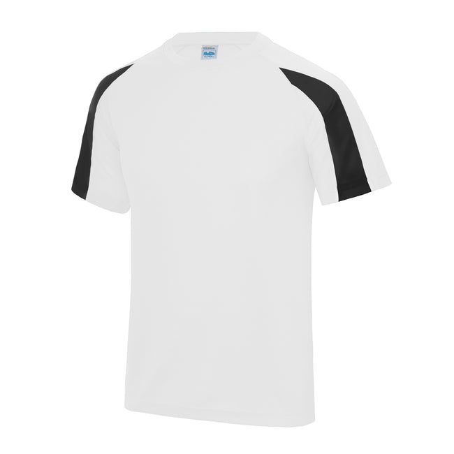 Arctic White-Jet Black - Back - Just Cool Mens Contrast Cool Sports Plain T-Shirt