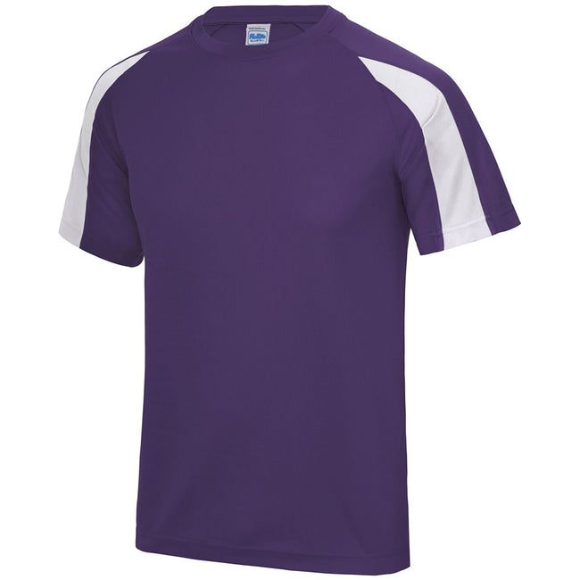 Purple-Arctic White - Side - Just Cool Mens Contrast Cool Sports Plain T-Shirt