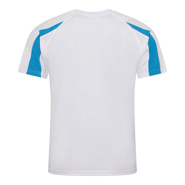 Arctic White-Sapphire Blue - Back - Just Cool Mens Contrast Cool Sports Plain T-Shirt