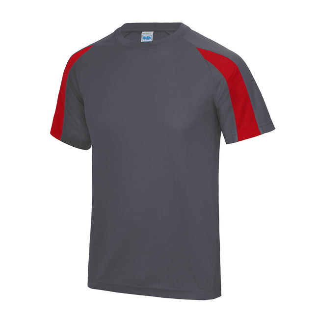 Charcoal- Fire Red - Front - Just Cool Mens Contrast Cool Sports Plain T-Shirt
