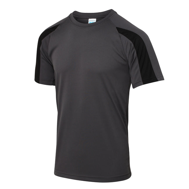 Charcoal-Jet Black - Front - Just Cool Mens Contrast Cool Sports Plain T-Shirt