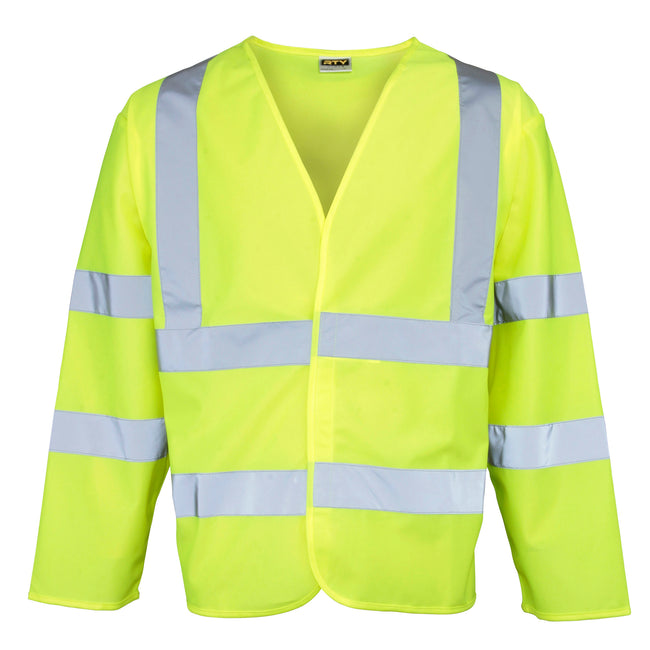 Fluorescent Yellow - Front - RTY High Visibility Unisex High Vis Motorway Coat (Pack of 2)