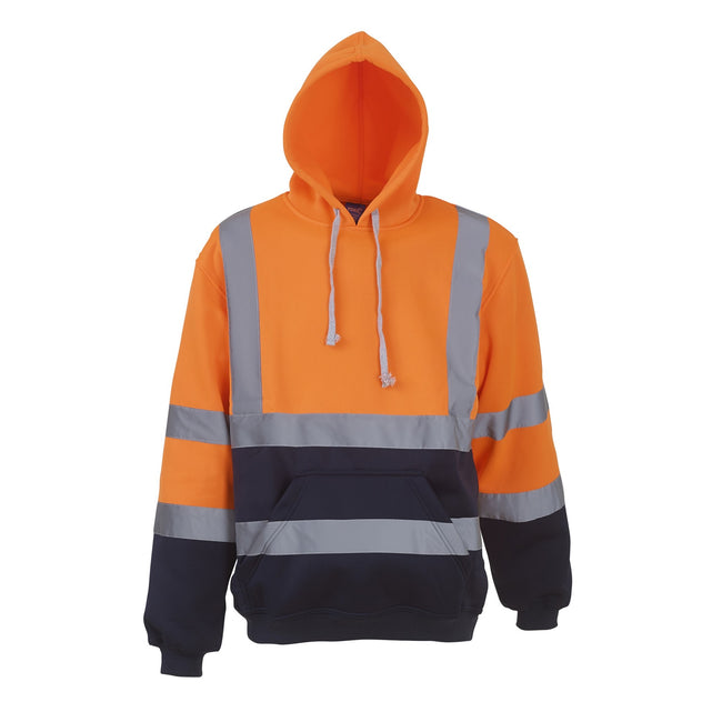 Orange-Navy - Front - Yoko Mens High Visibility Pull-Over Hoodie (Pack of 2)