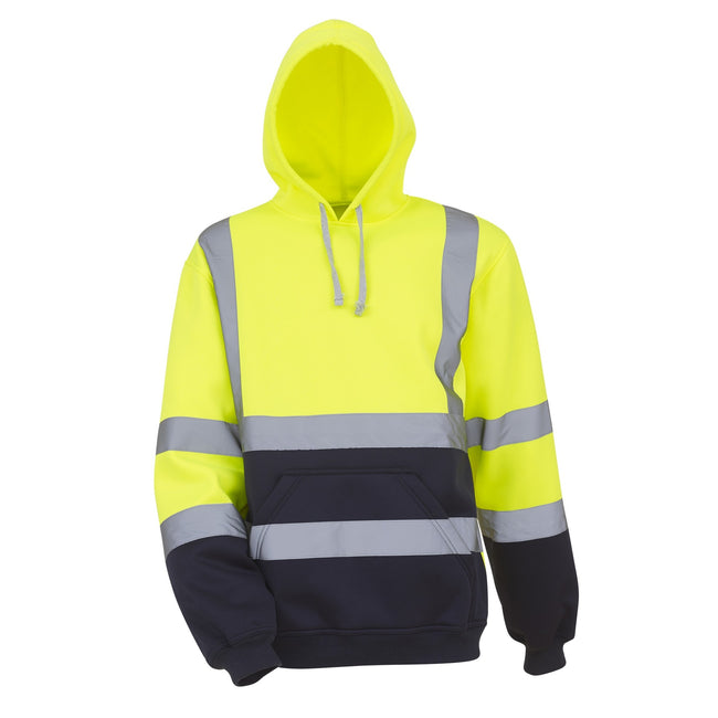 Yellow-Navy - Front - Yoko Mens High Visibility Pull-Over Hoodie (Pack of 2)