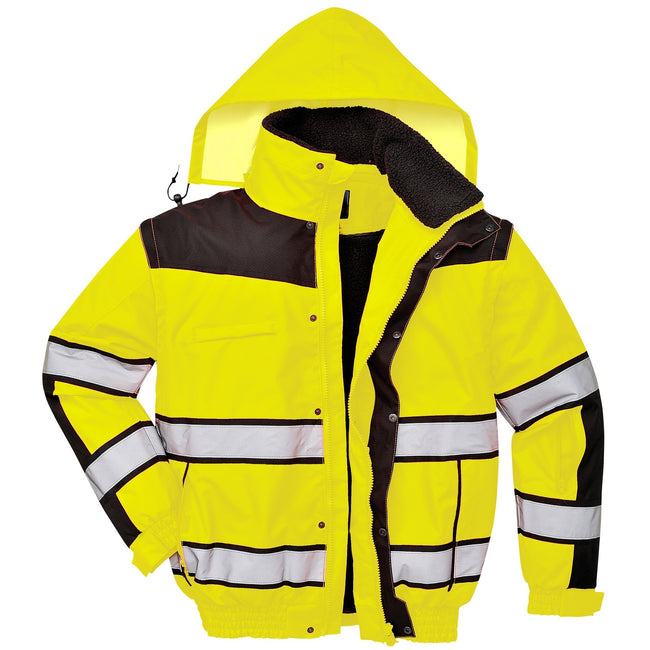 Yellow- Black - Front - Portwest Mens High Visibility Classic All Weather Bomber Jacket (Pack of 2)