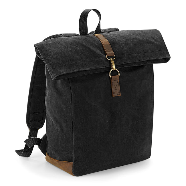 Black - Front - Quadra Heritage Waxed Canvas Leather Accent Backpack