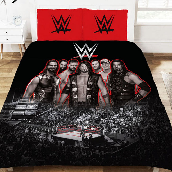 Red-Black - Front - WWE Wrestling Ring Duvet Set