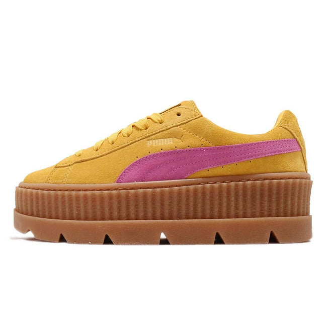 Lemon-Pink - Back - Puma X FENTY By Rihanna Womens-Ladies Cleated Suede Creepers
