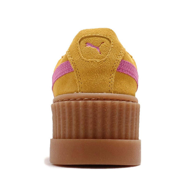 Lemon-Pink - Side - Puma X FENTY By Rihanna Womens-Ladies Cleated Suede Creepers