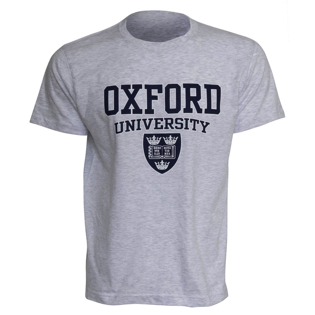 Sport Grey - Front - Mens Oxford University Print Short Sleeve Casual T-Shirt-Top